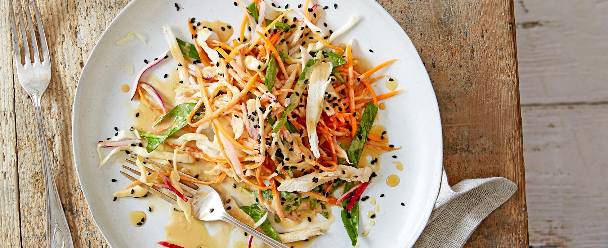 shredded veg and chicken salad with japanese sesame dressing  olive magazine