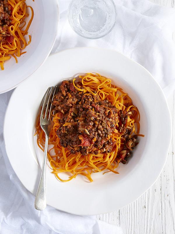 Sweet potato linguine with puy lentil ragù