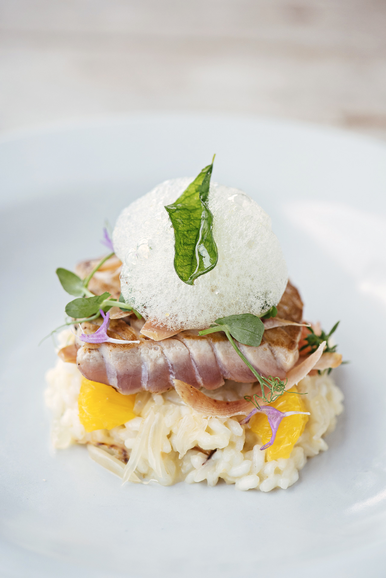 GLM_Smoked tuna belly, vhaloma risotto, citrus foam