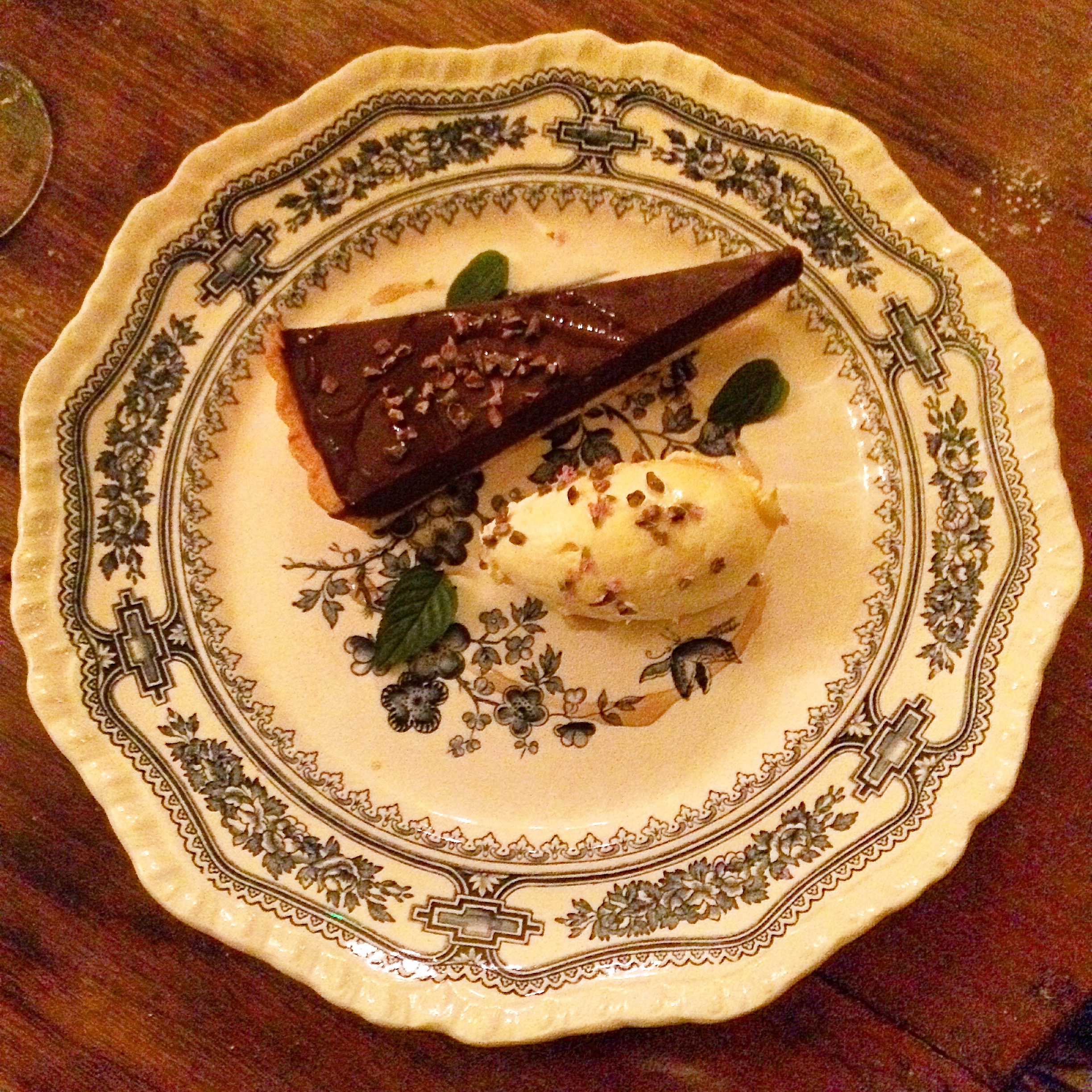 Mint chocolate tart at The Pig at Combe