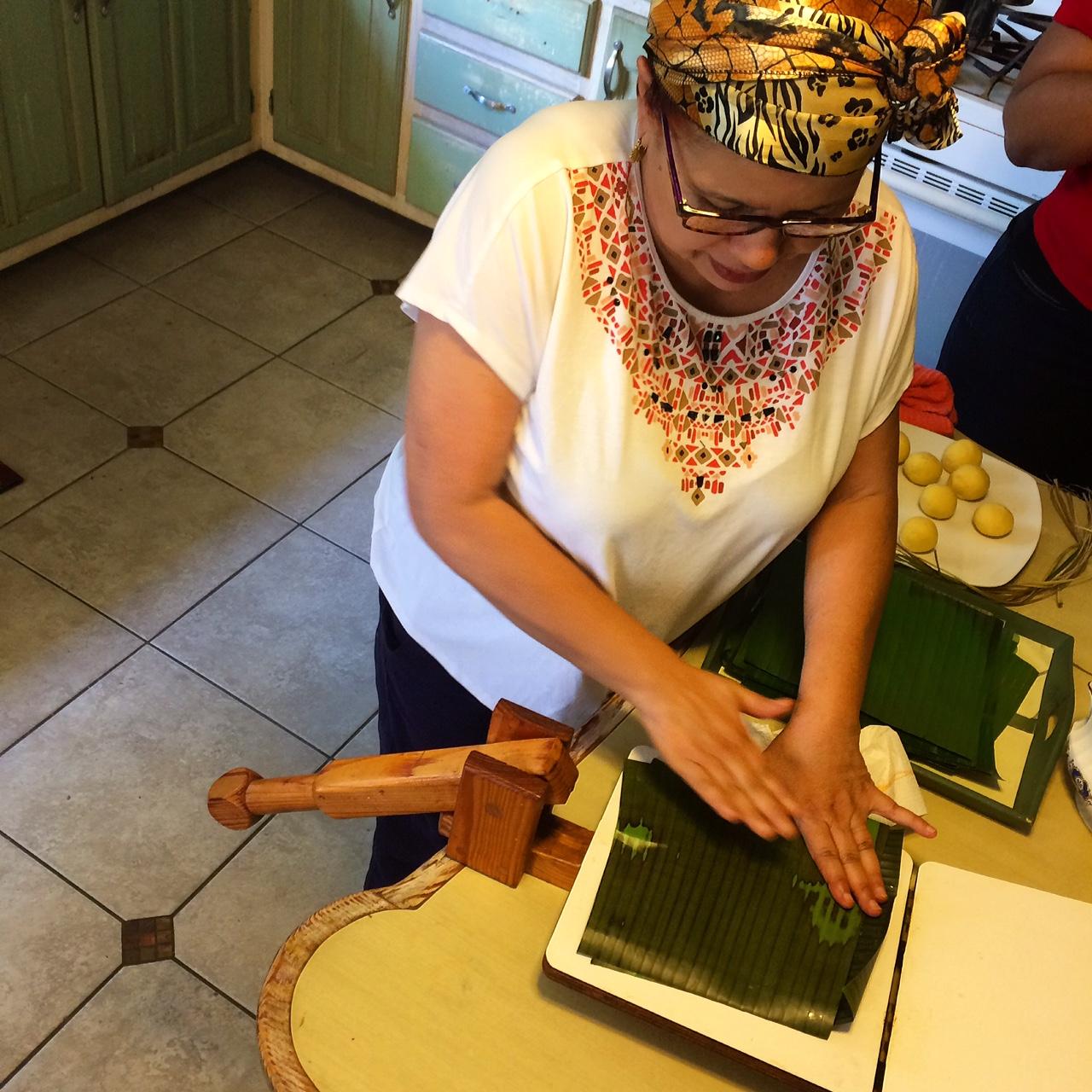 Making pastelles in Lopinot, Trinidad