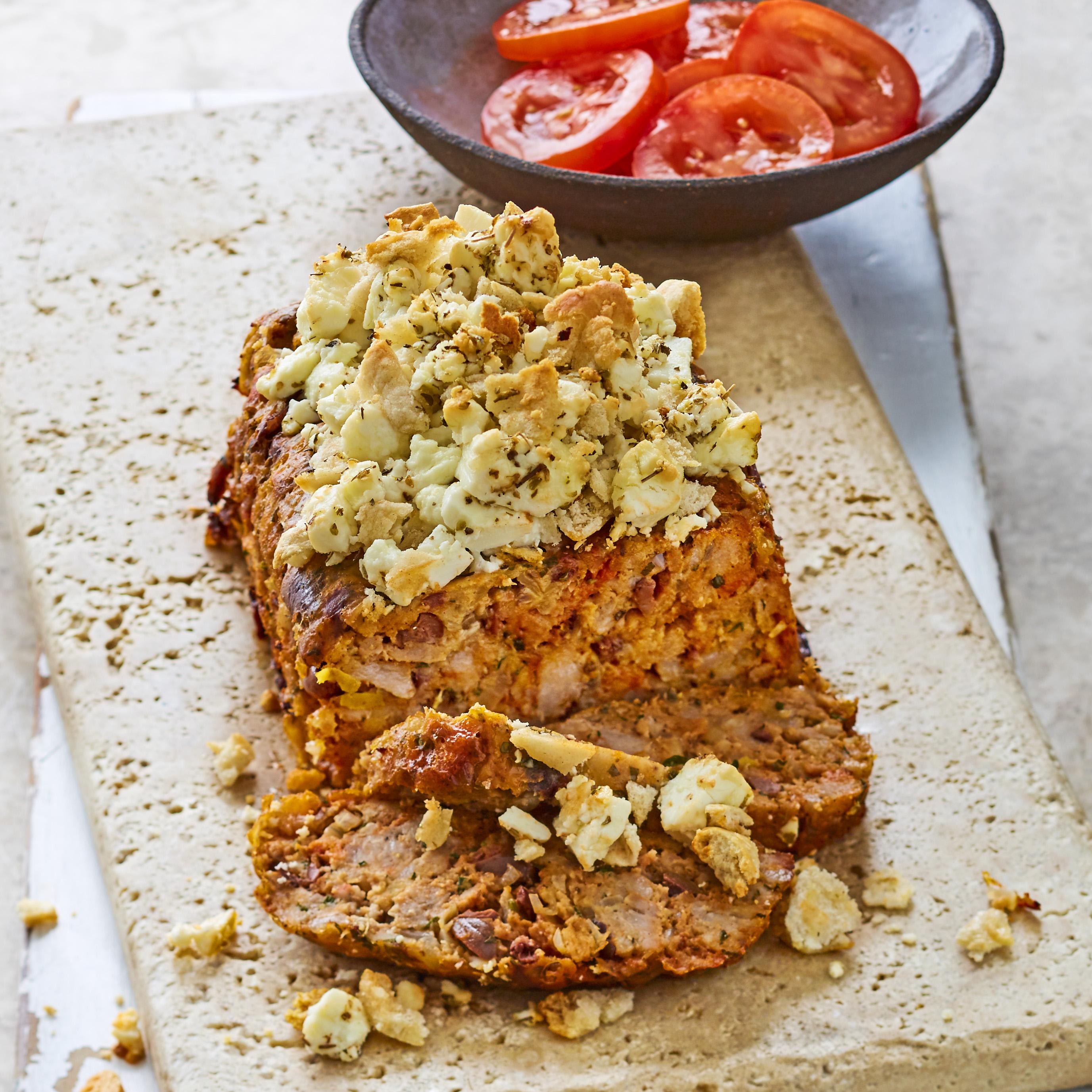 Greek meatloaf with baked feta