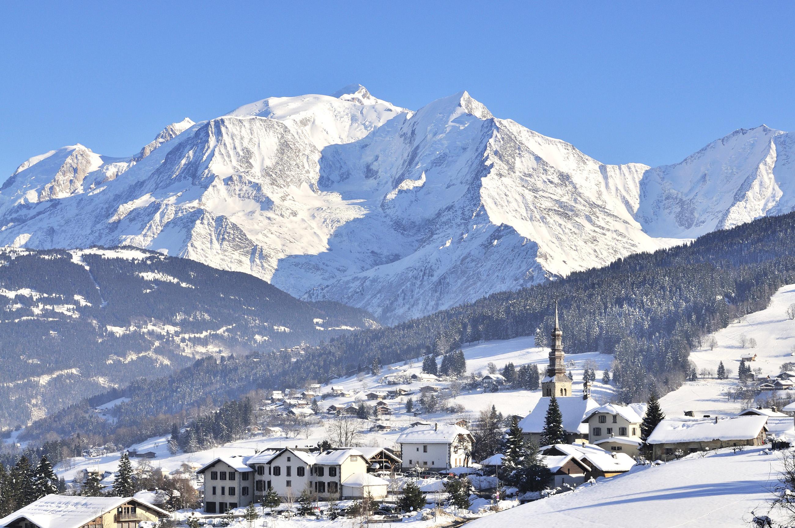 Chamonix ski resort in the snow