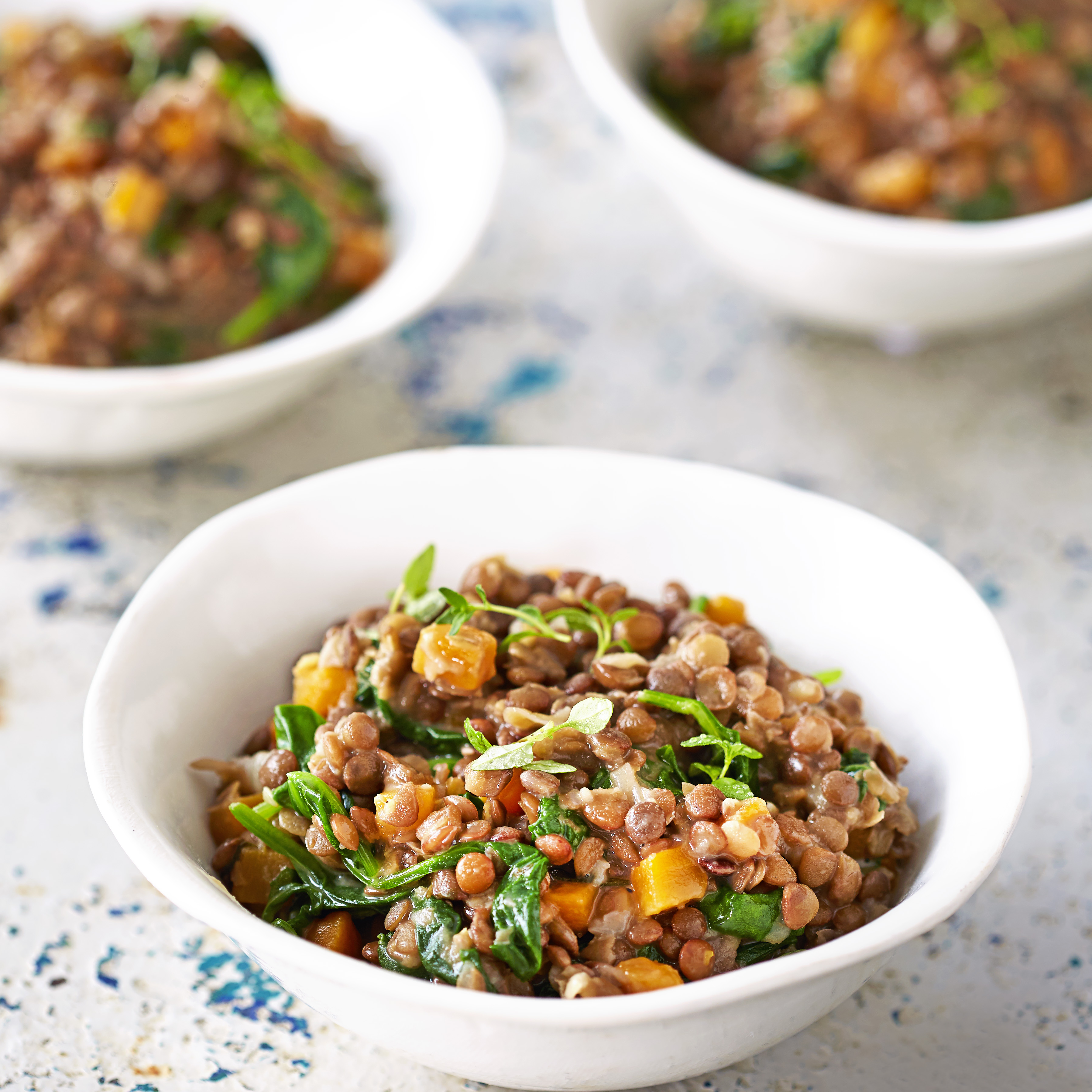 creamy lentils with spinach and thyme