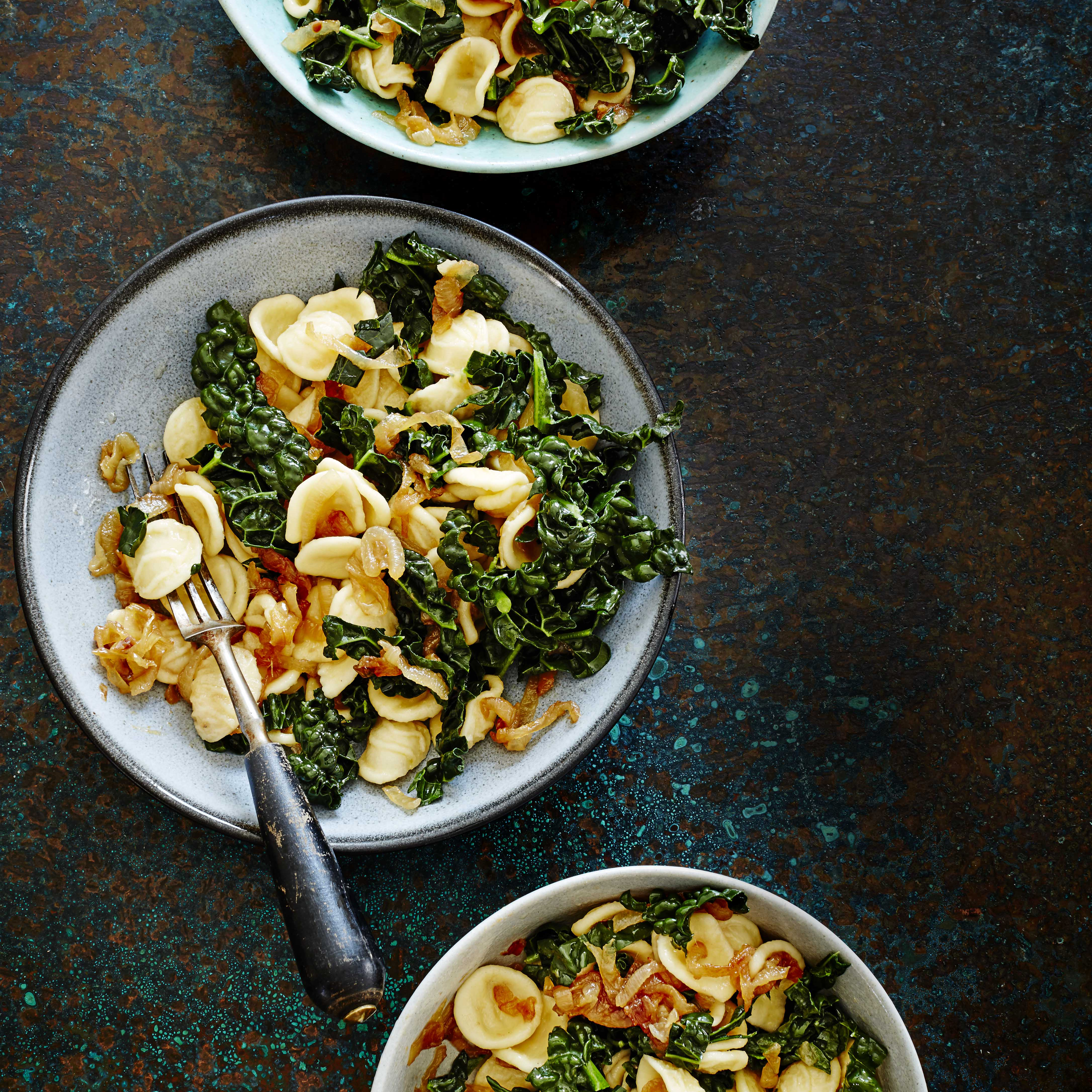 Orecchiette with anchovies, cavelo nero and caramelised onions