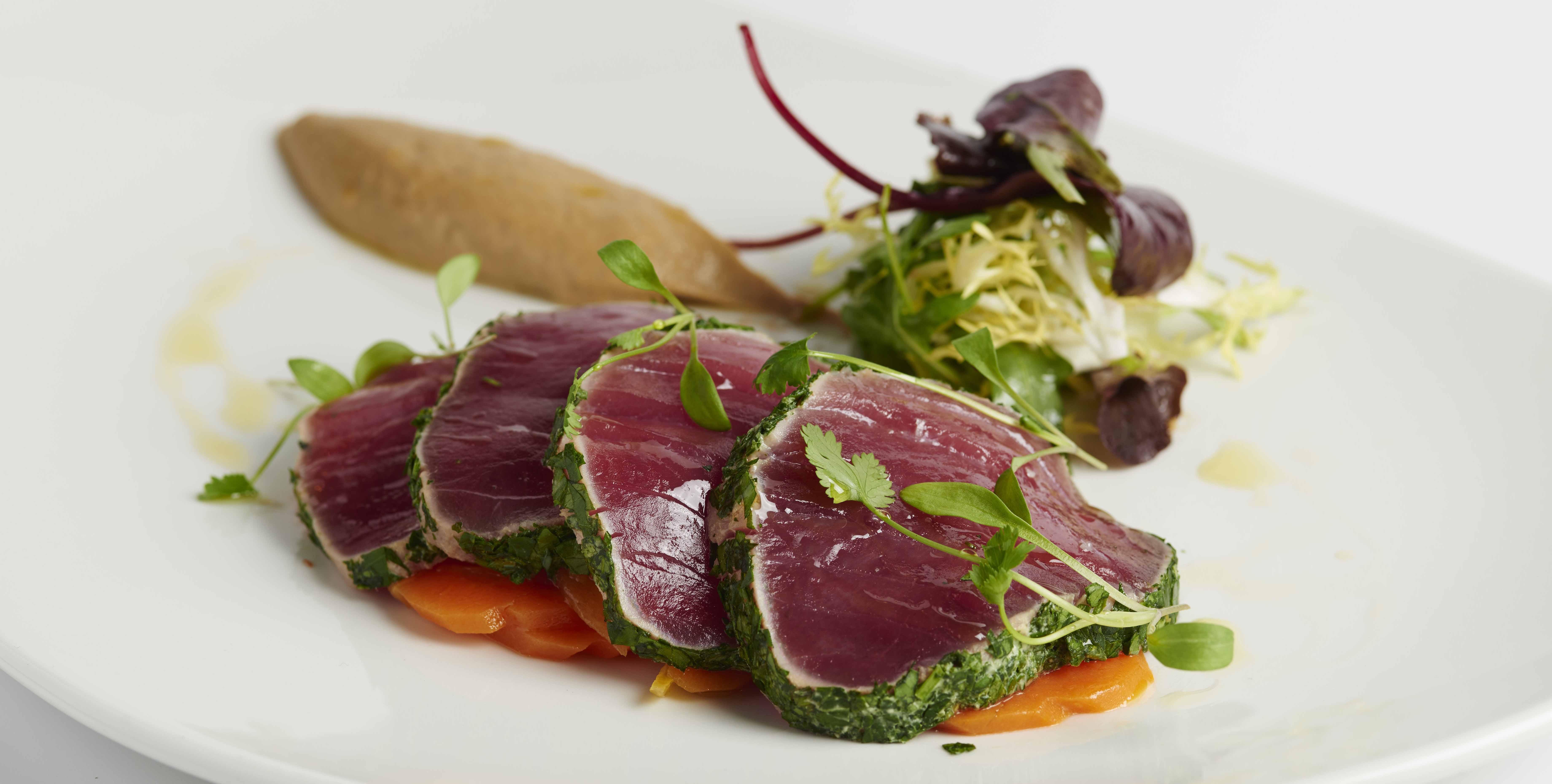 Yellowfin tuna with spiced aubergine