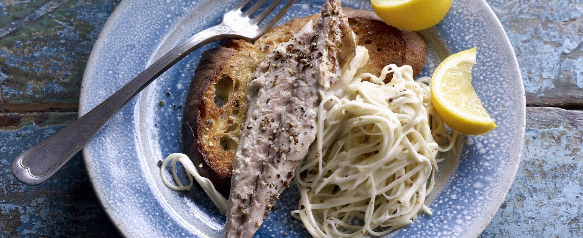 Celeriac remoulade with warm smoked mackerel