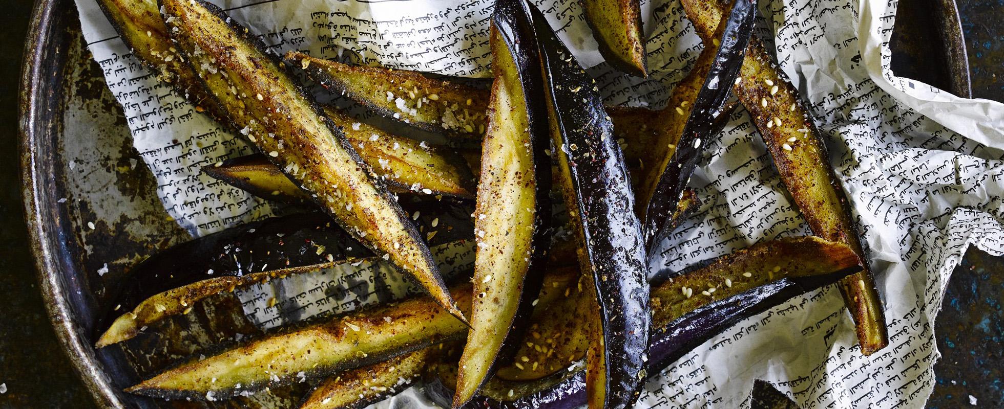 Aubergine sticks with sumac and honey