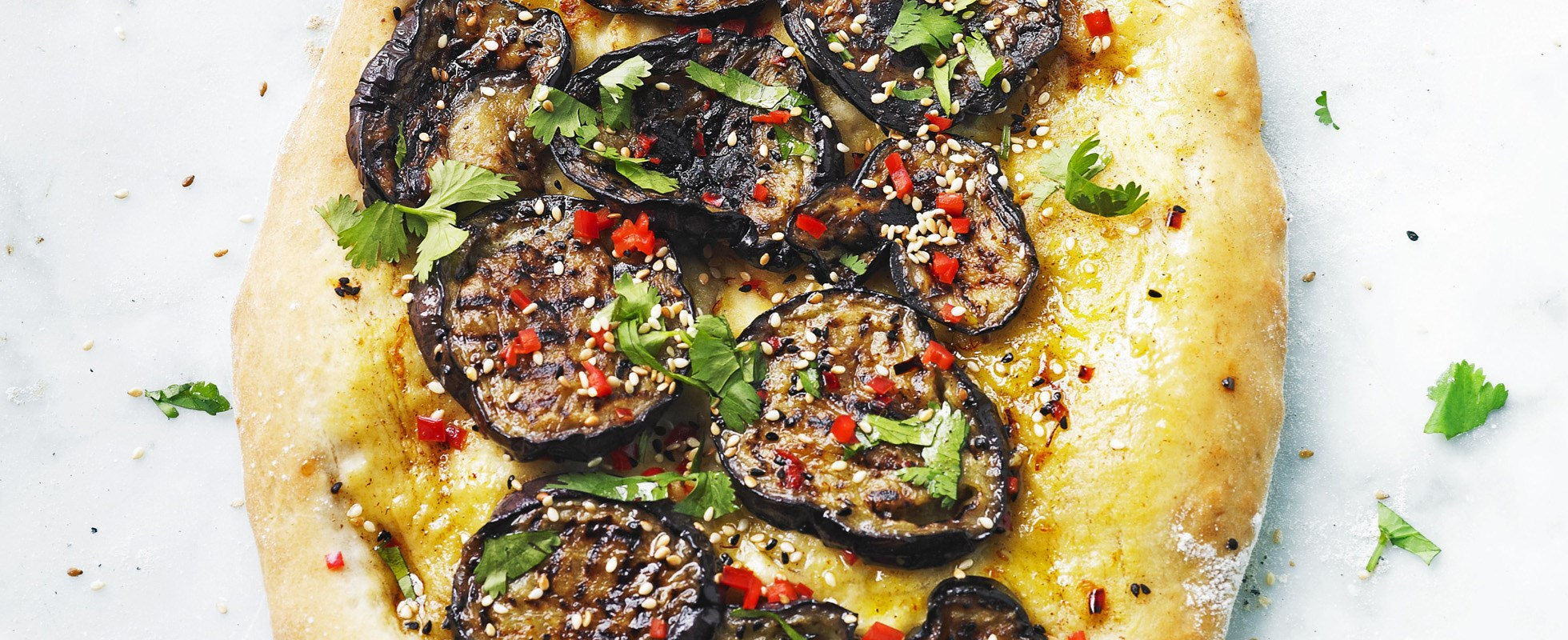 Aubergine and chilli pide