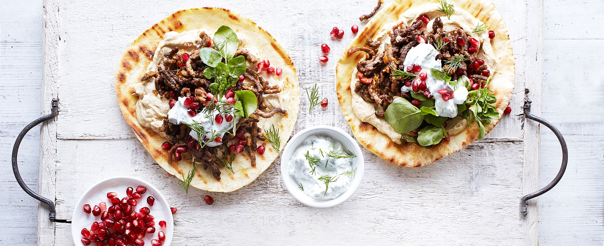 Easy griddle breads with lamb, dill and yogurt topping