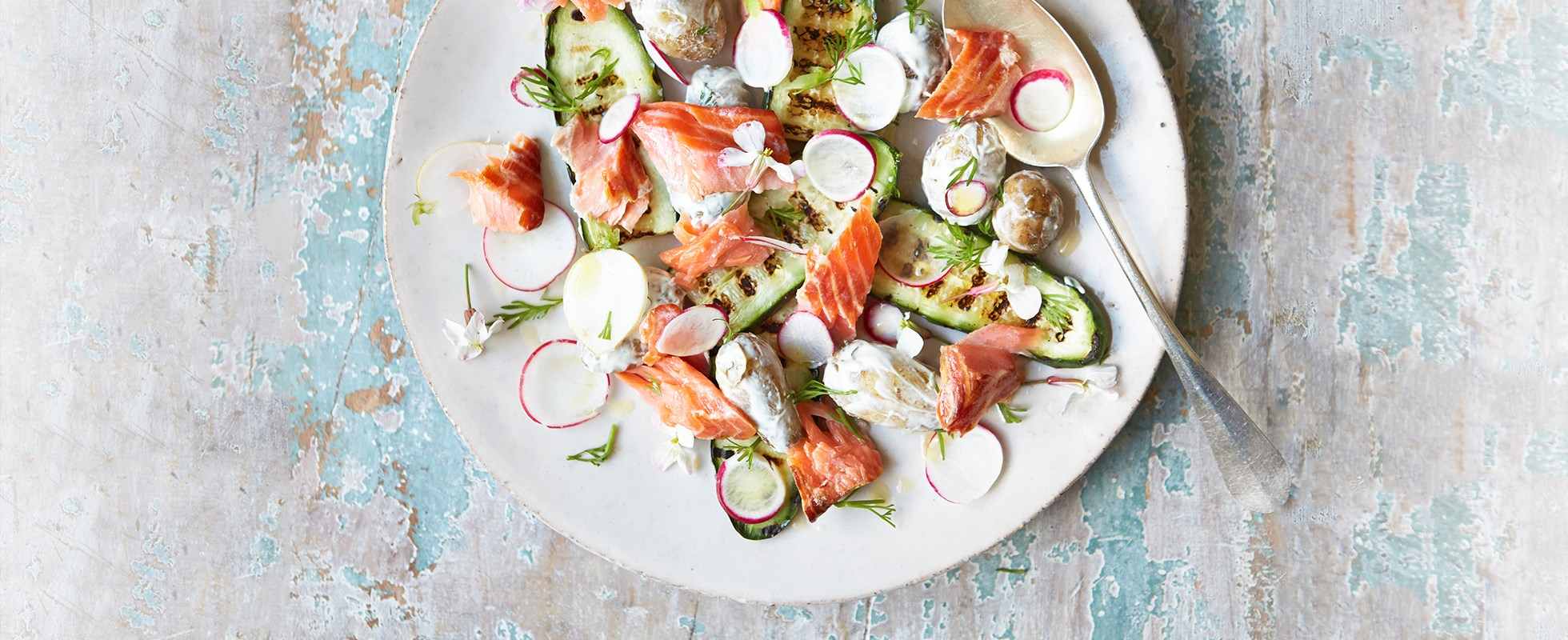 Smoked trout, new potato and grilled cucumber salad
