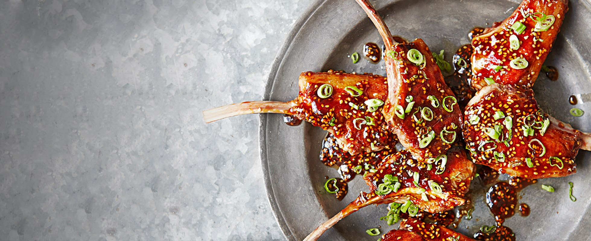 Plum and sesame lamb cutlets