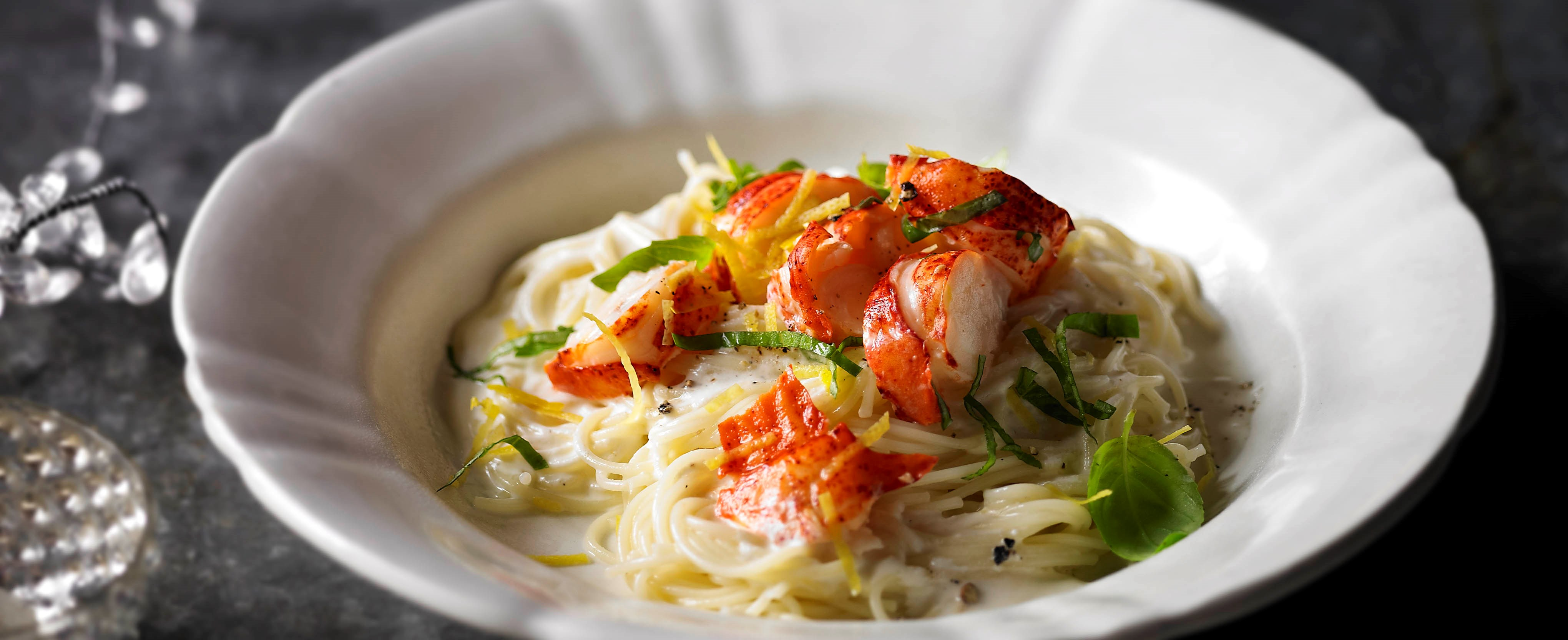 Angel hair pasta with lobster