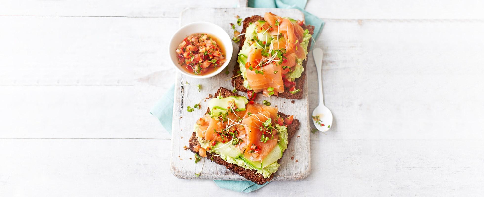 Avocado and smoked salmon toasts