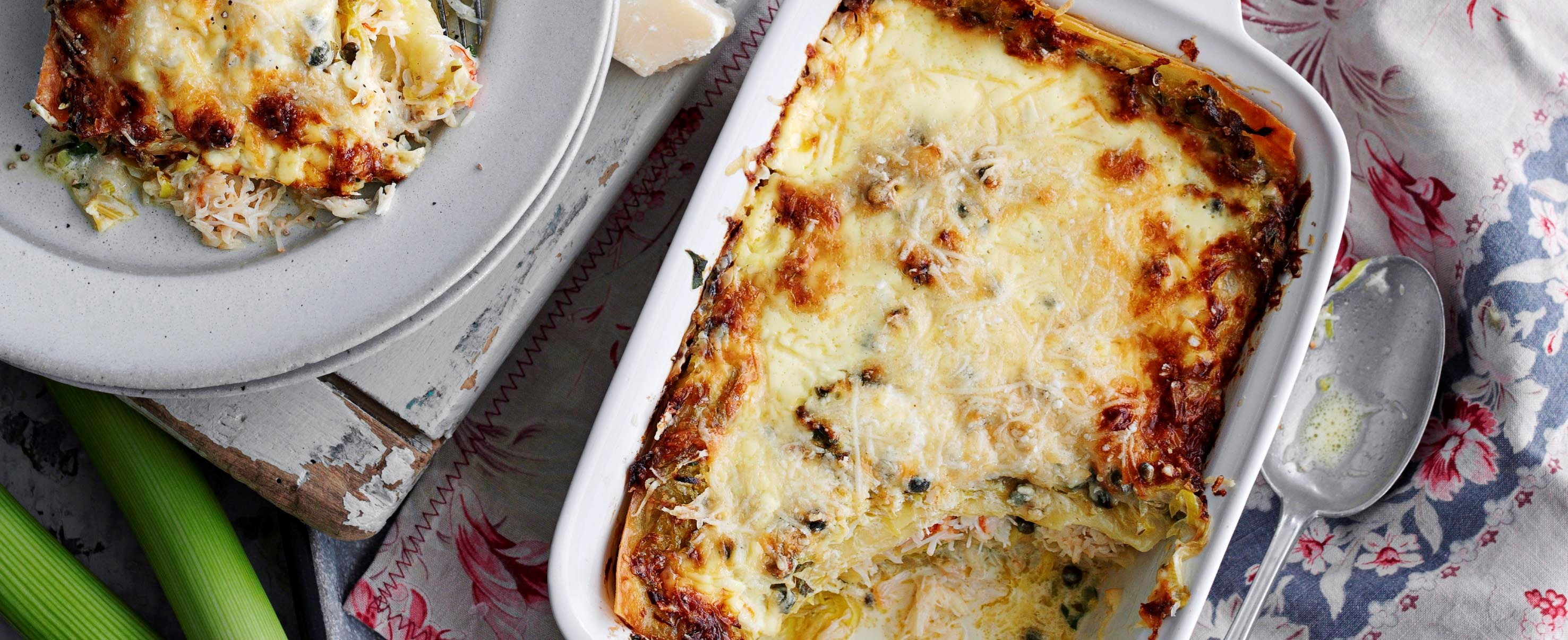 Leek and crab lasagne