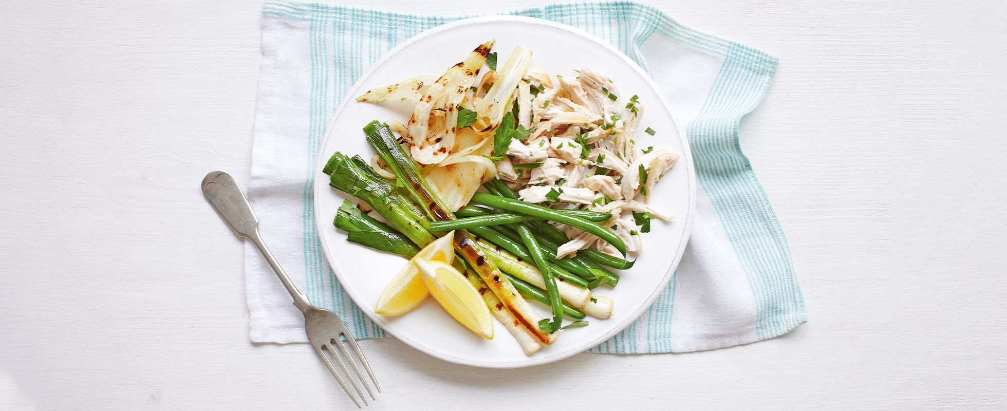 Lemon chicken with charred leeks and fennel