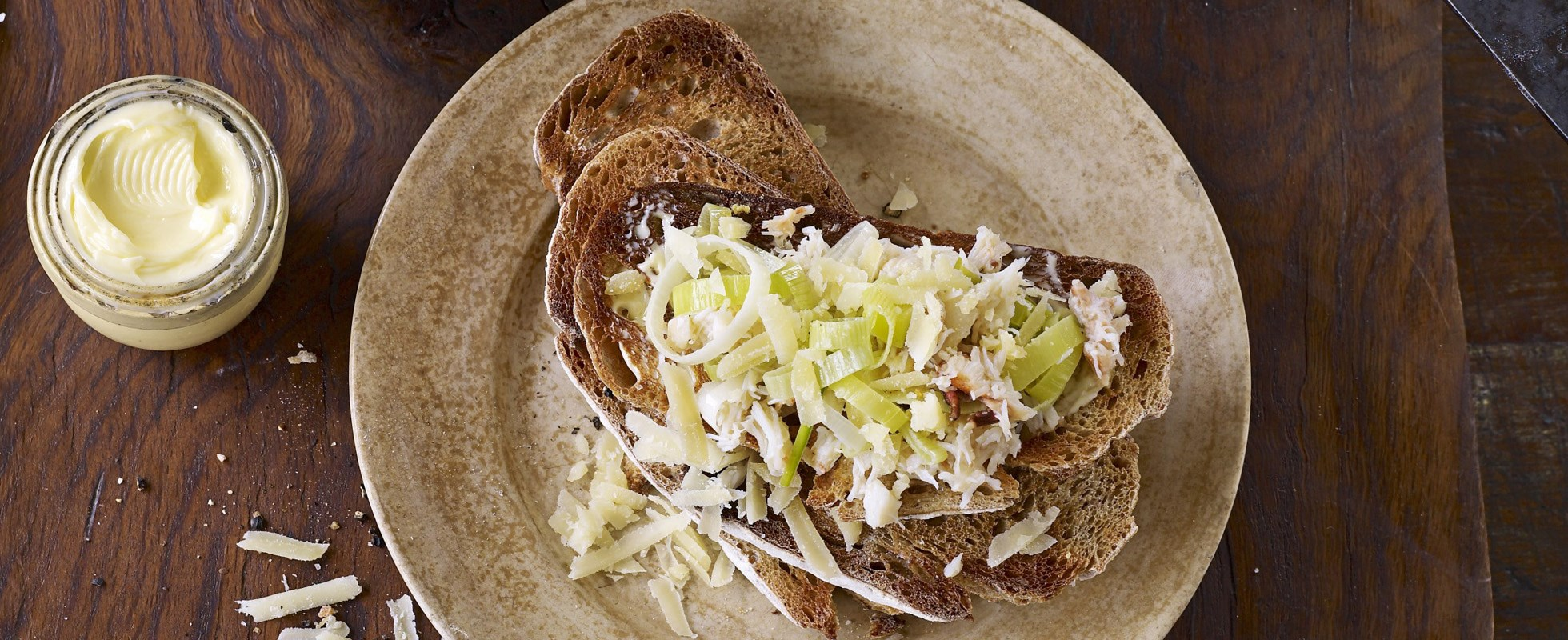 Crab and leek on toast