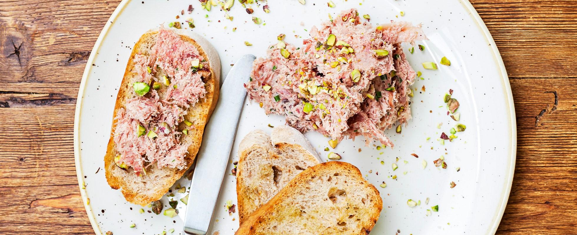 Ham hock rillettes with pistachio salt