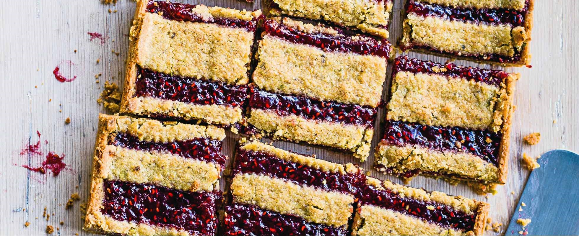 Raspberry and pistachio linzer tart