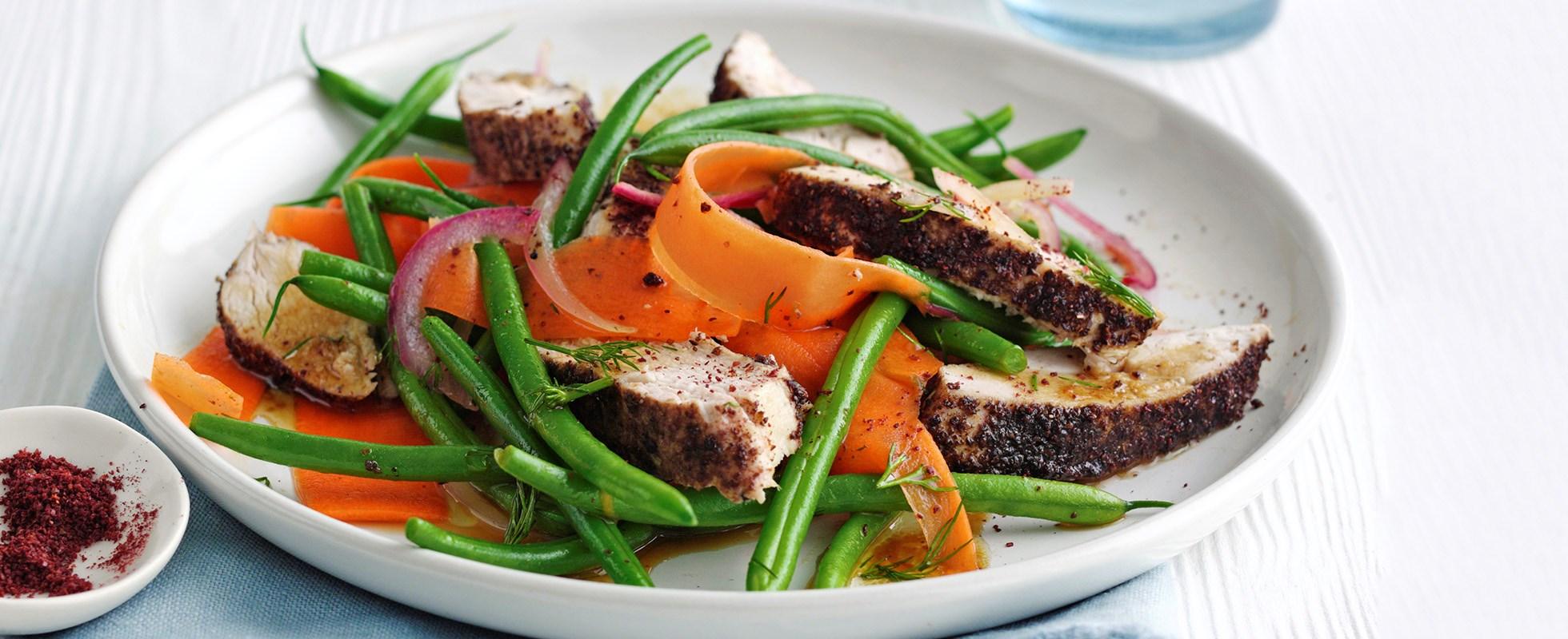 Sumac chicken and green bean salad