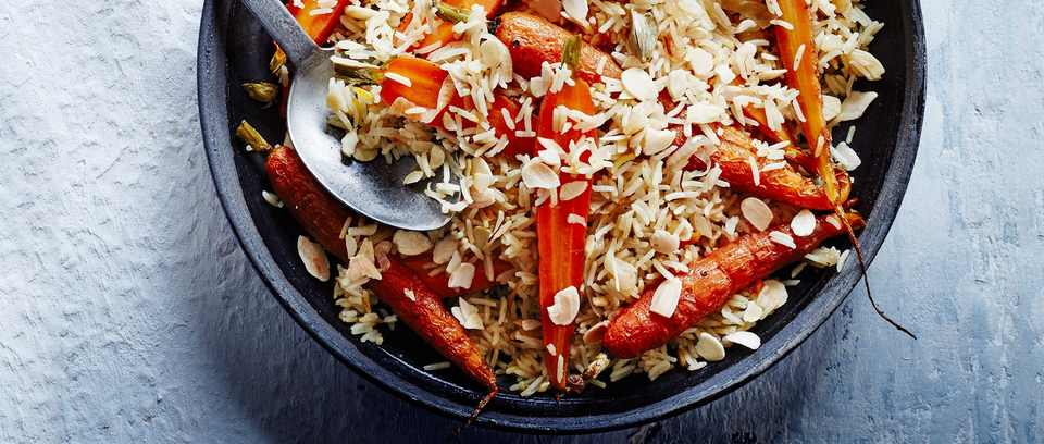carrot and cardamom pilaf