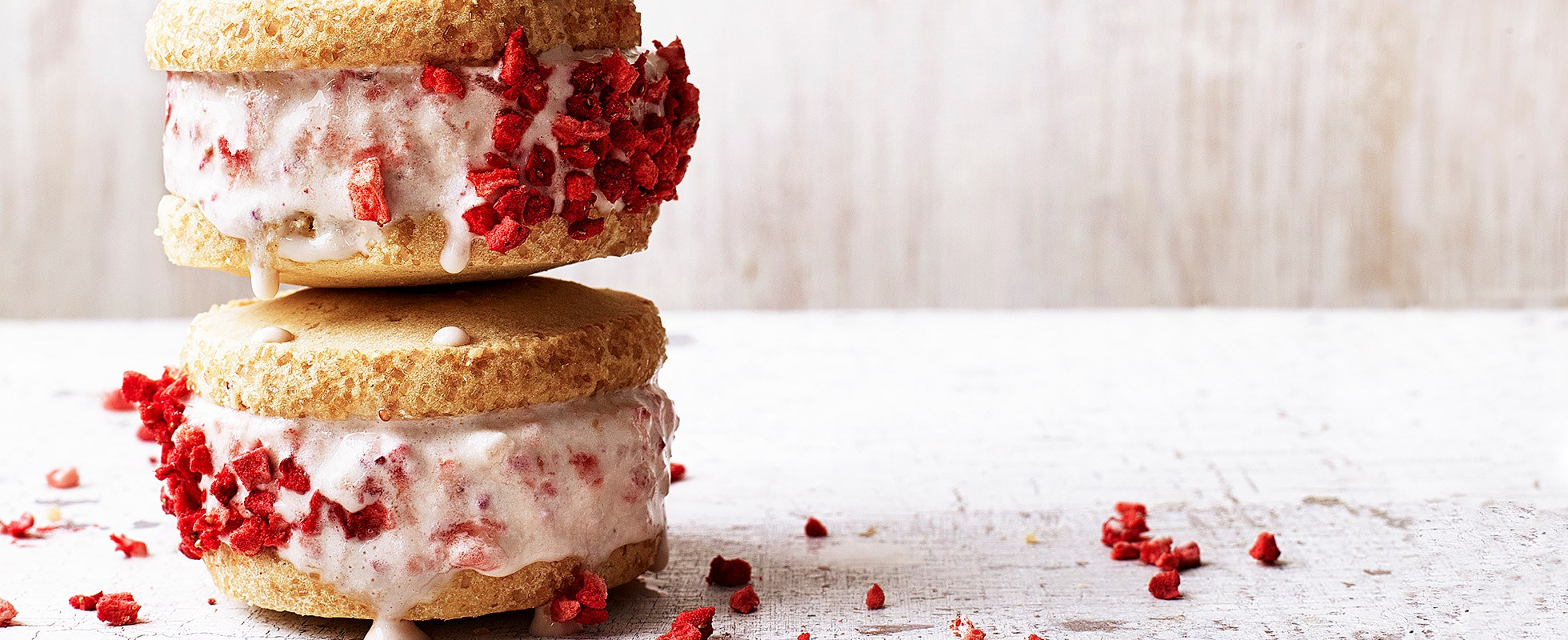 Strawberry shortcake ice-cream sandwiches