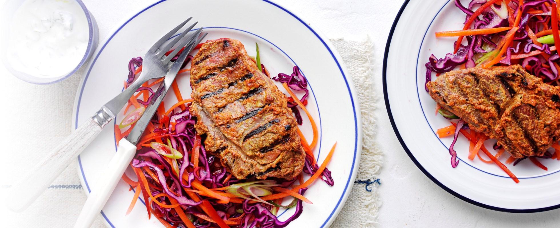 Tandoori lamb steaks with chilli-spiked slaw