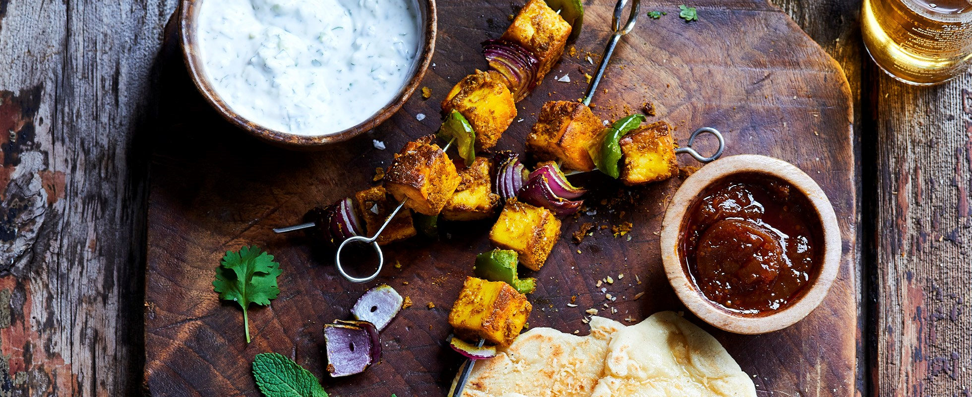 Turmeric and coconut paneer with charred naans