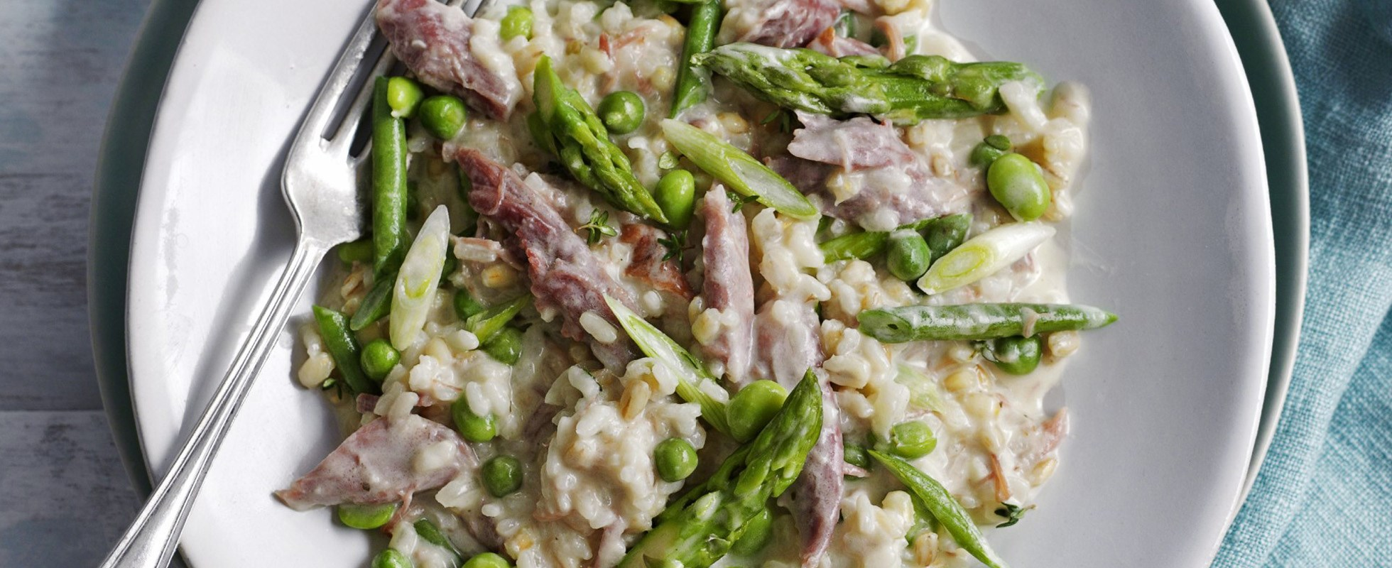 Smoked ham hock and barley risotto primavera