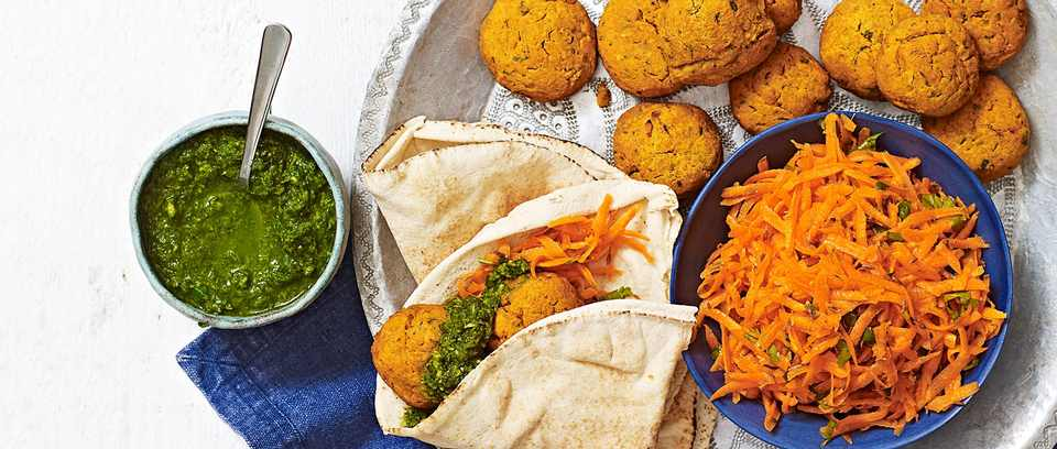 Sweet potato falafel with coriander chutney and carrot salad