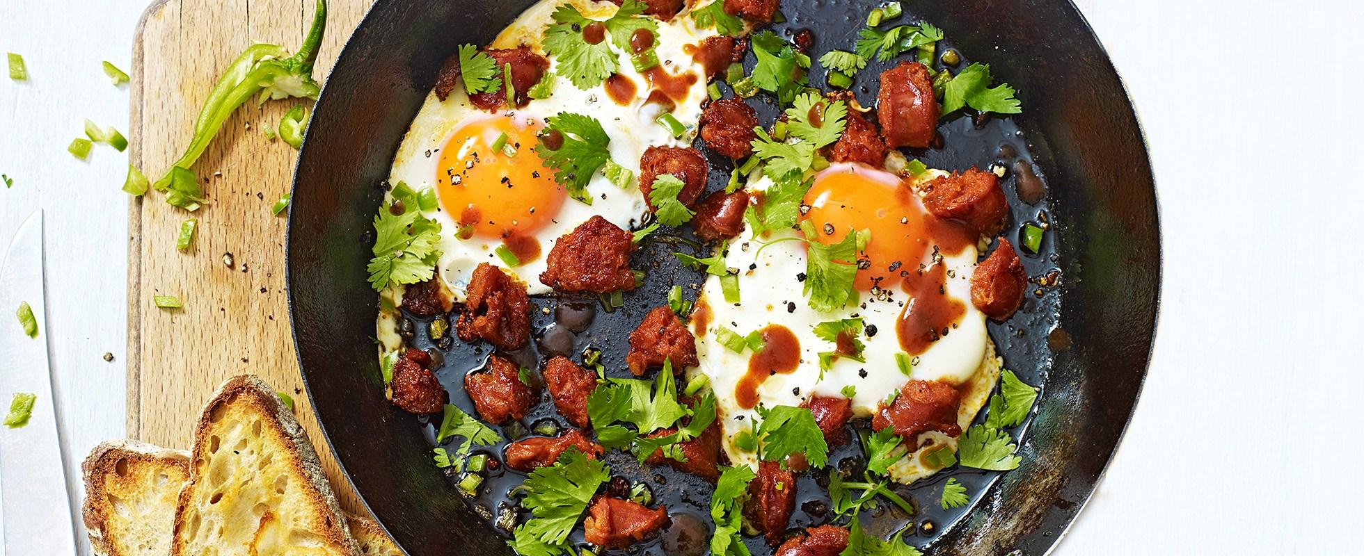 One-pan green chilli eggs with chorizo