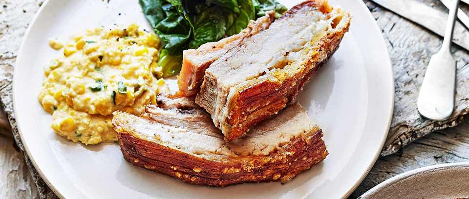 Pork Belly with creamed corn