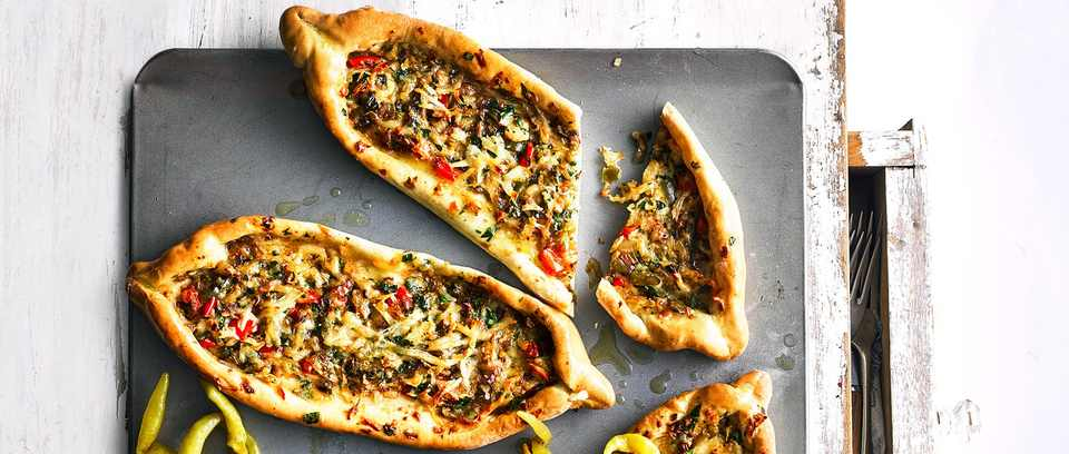 Turkish pide with cheese and peppers