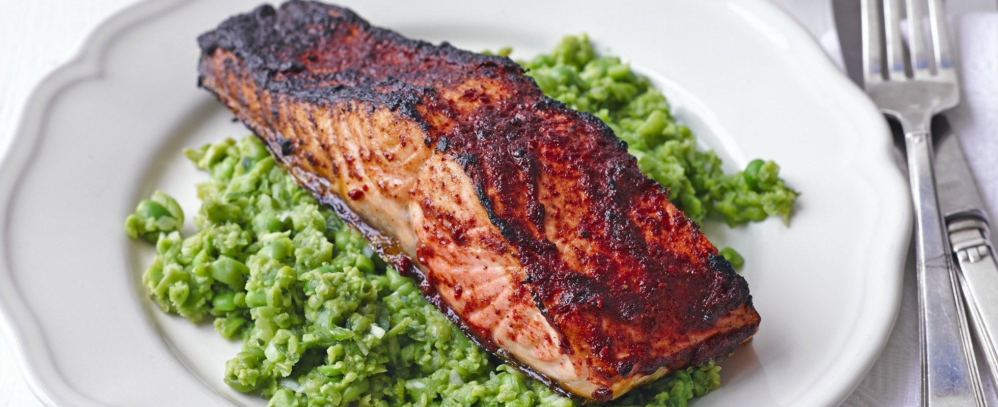 Spicy Grilled Salmon With Pea And Mint Mash One Of Our Most Popular Recipes Made Indian