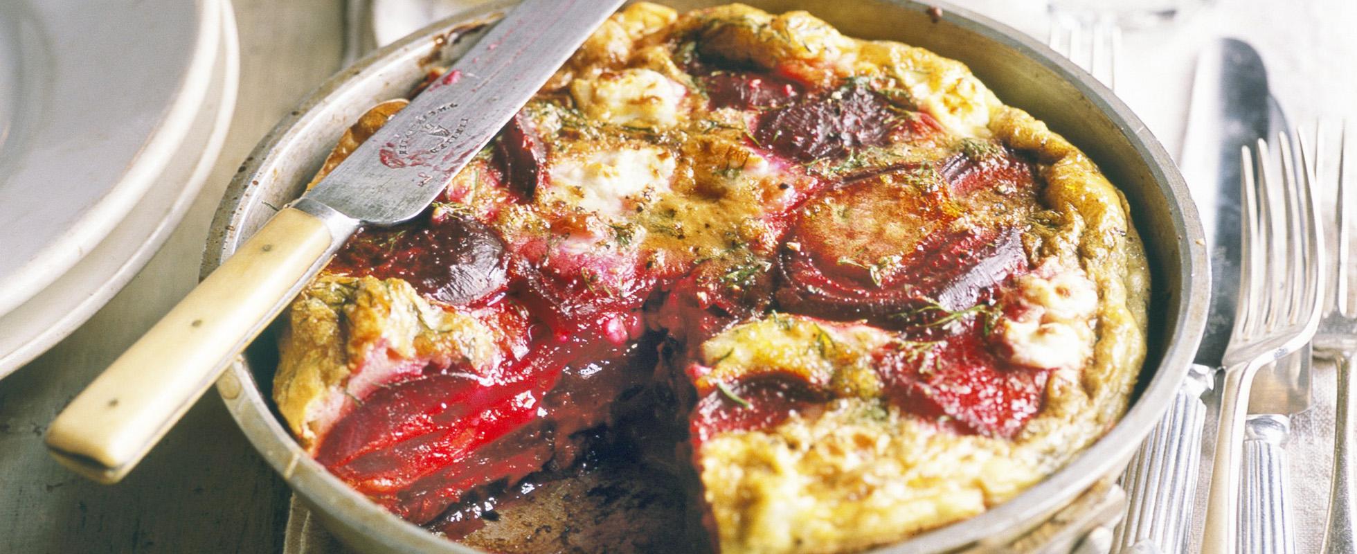 Beetroot, dill and feta frittata