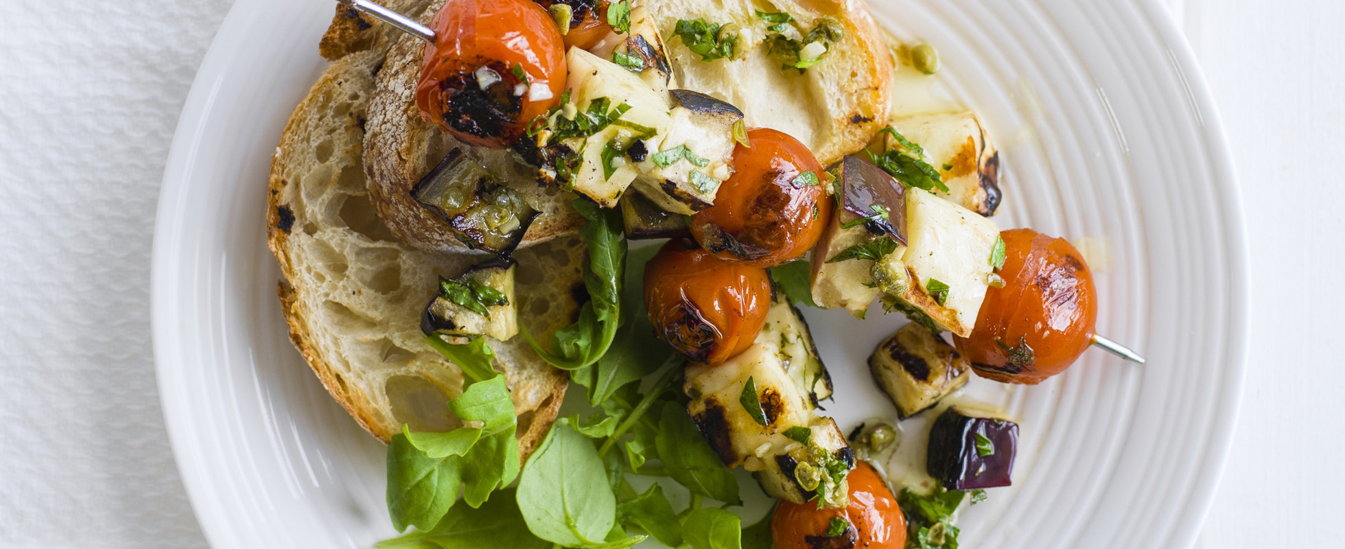 Halloumi, tomato and aubergine skewers