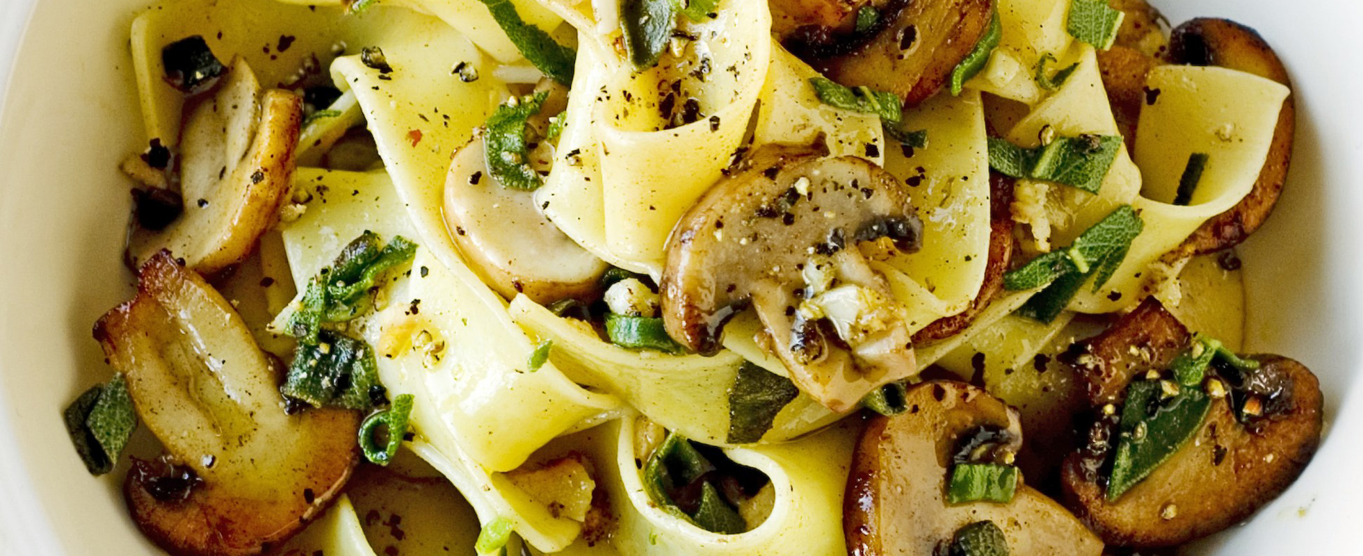 Pappardelle with lemon and sage mushrooms