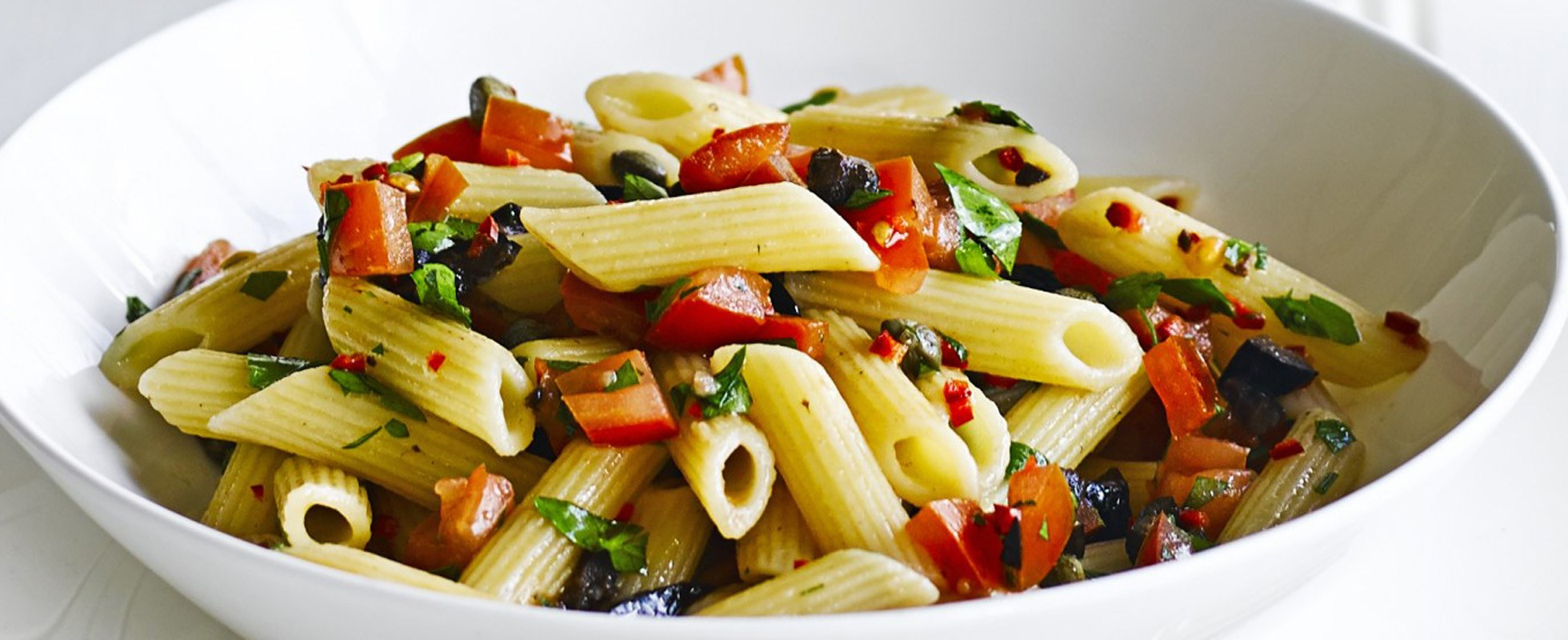 Penne with chopped puttanesca sauce