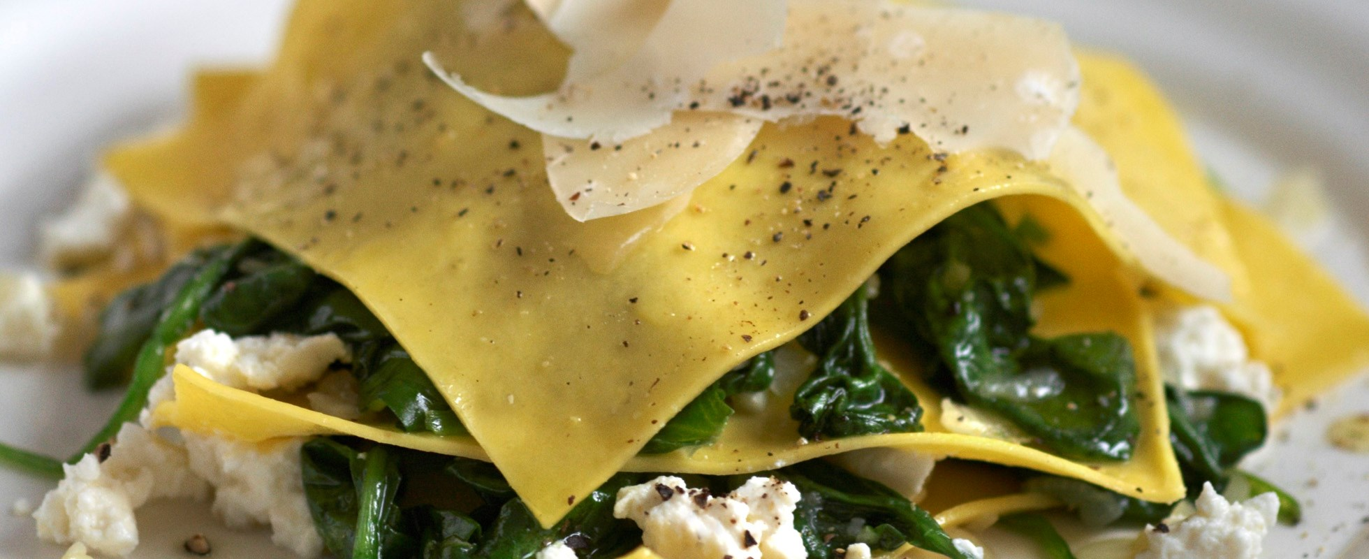 Open spinach and ricotta ravioli