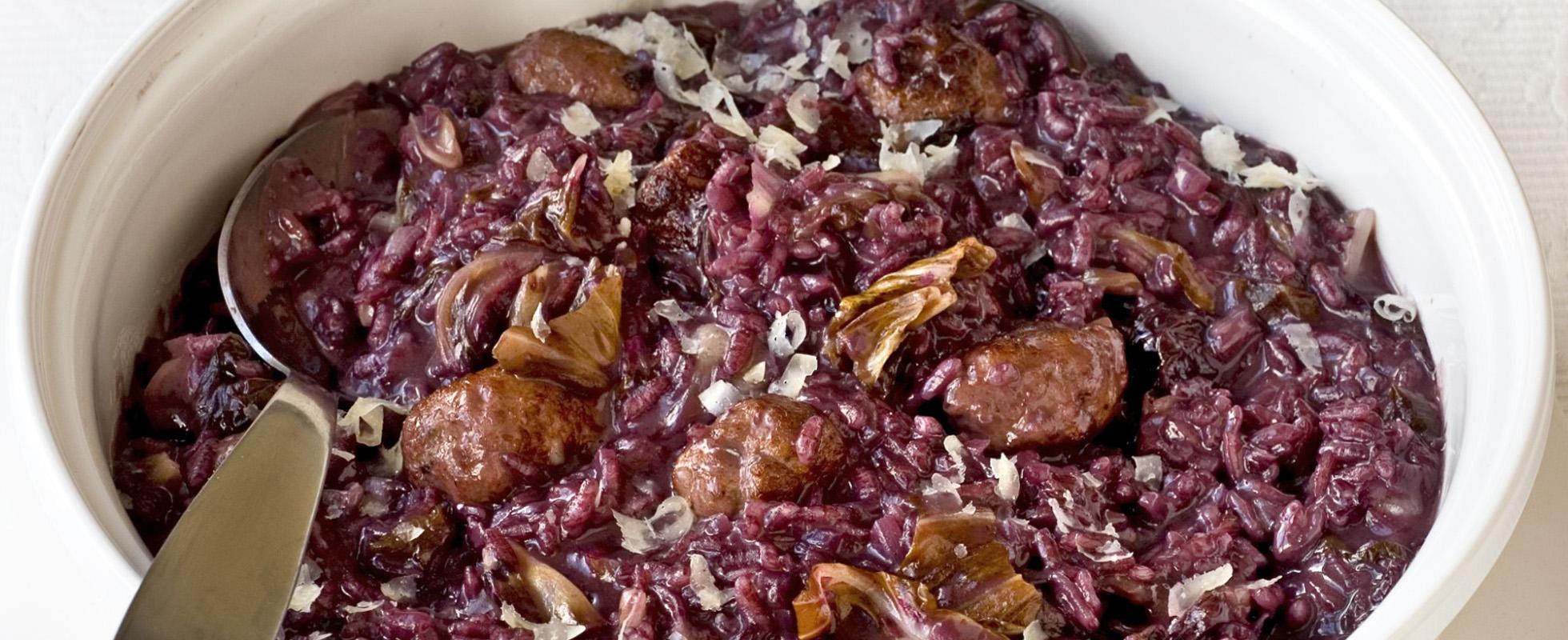 Sausage, radicchio and barolo risotto