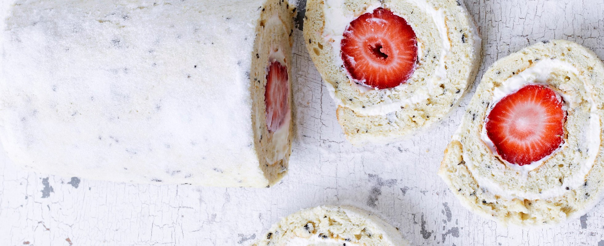 Strawberry and earl grey roulade