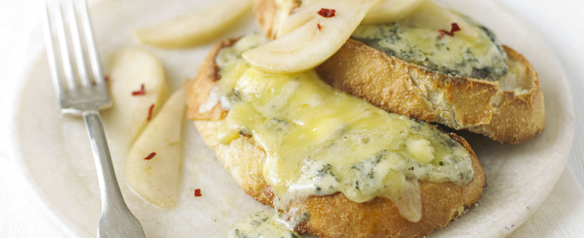 stilton on toast with pickled pears