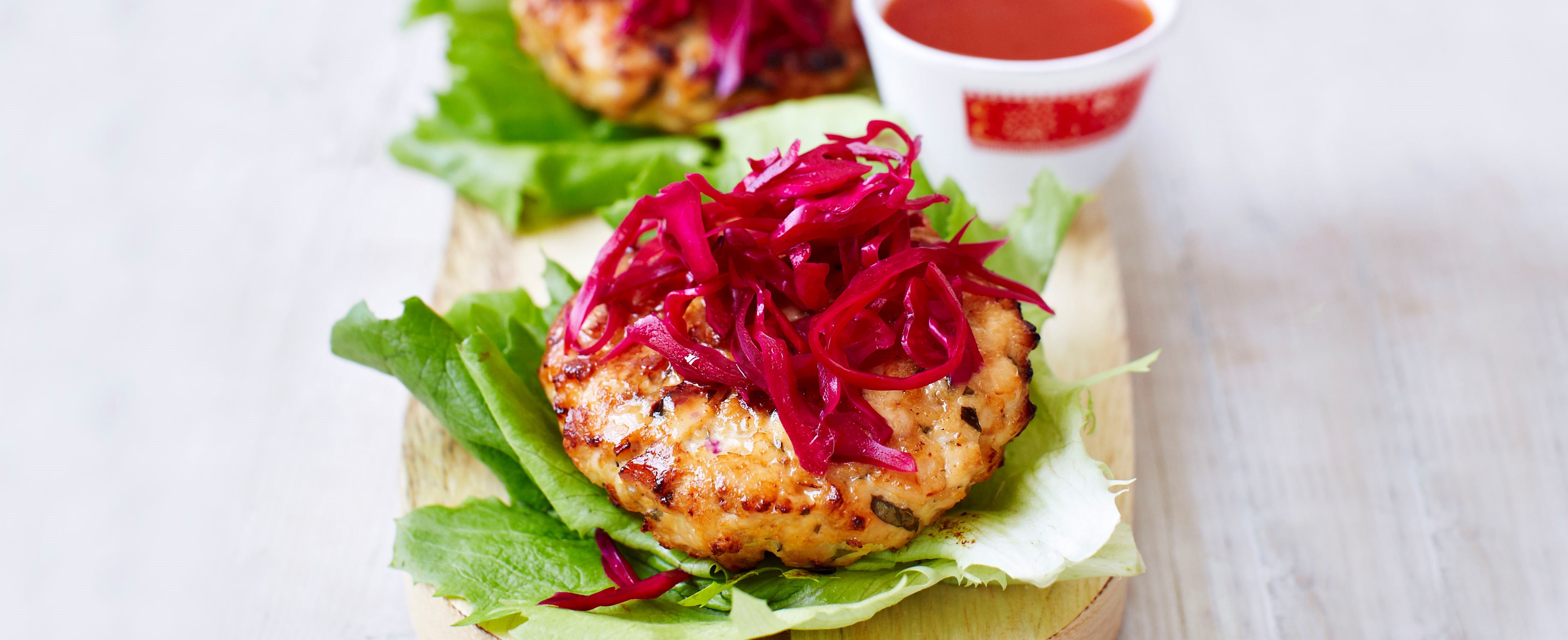 Asian chicken burgers with pickled red cabbage