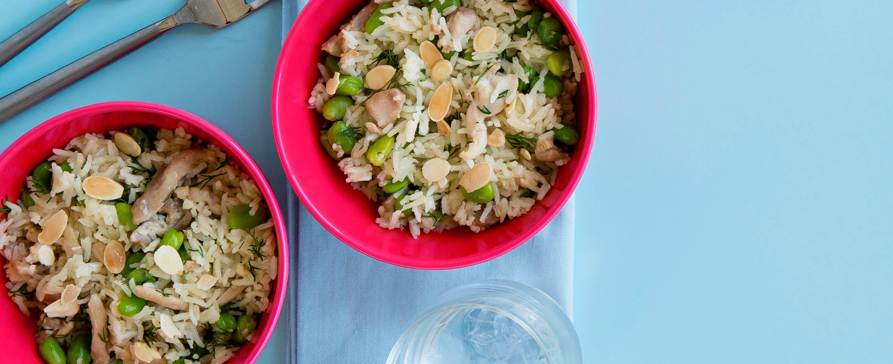 Chicken and broad bean pilaf - healthy chicken recipe