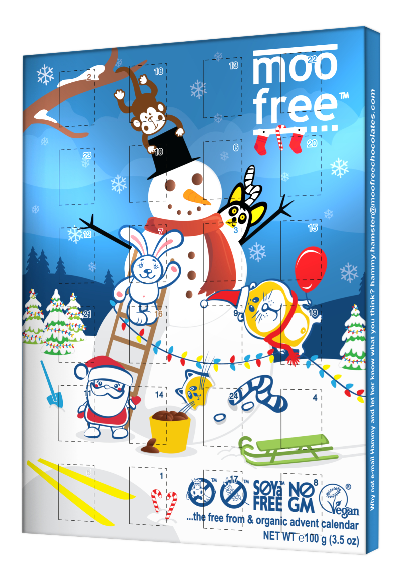 A blue advent calendar with a white snowman on the front. He is wearing a red scarf and there are smaller figures of bunnies and Father Christmas also on the front