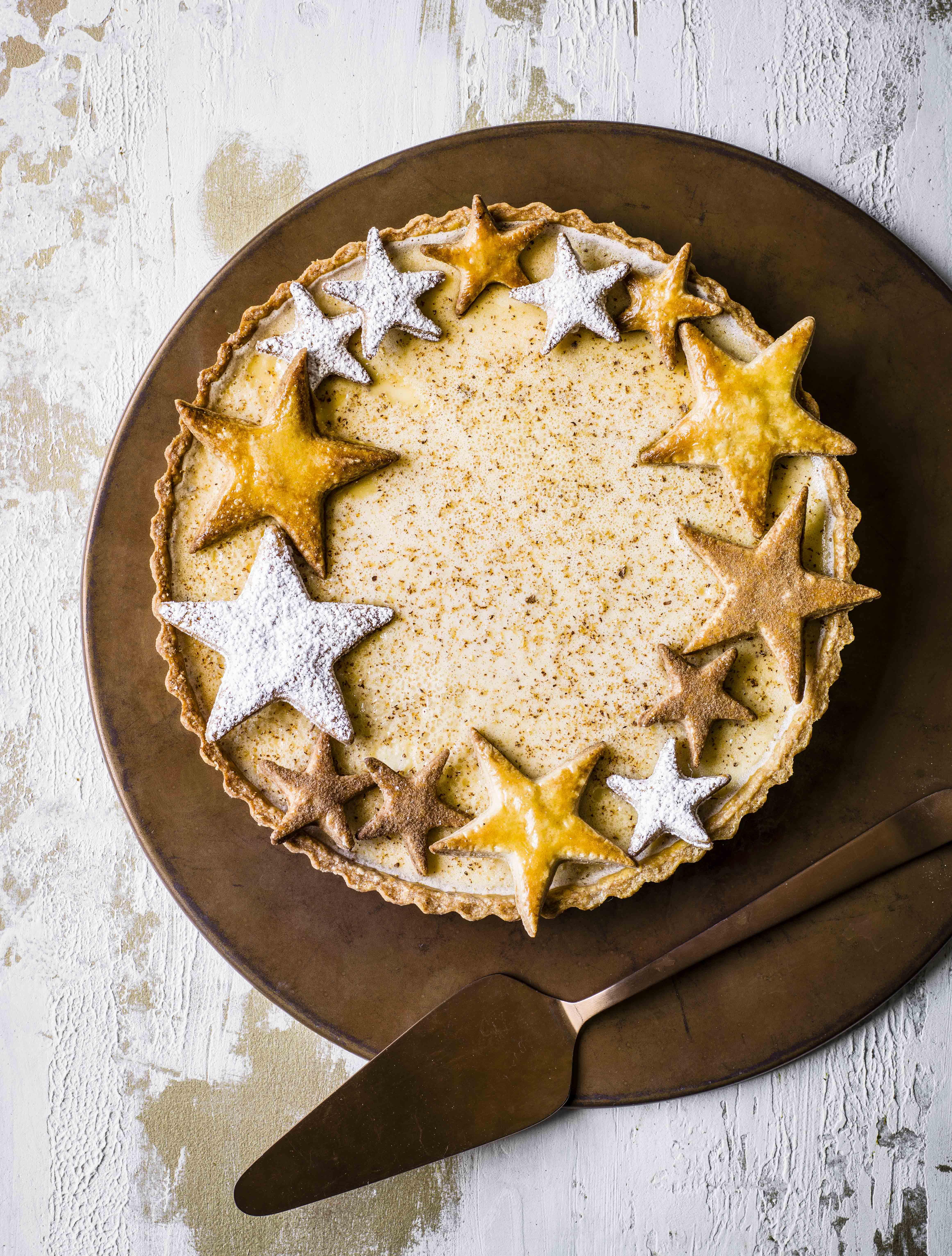 Eggnog Custard Tart Recipe With Stars On Top