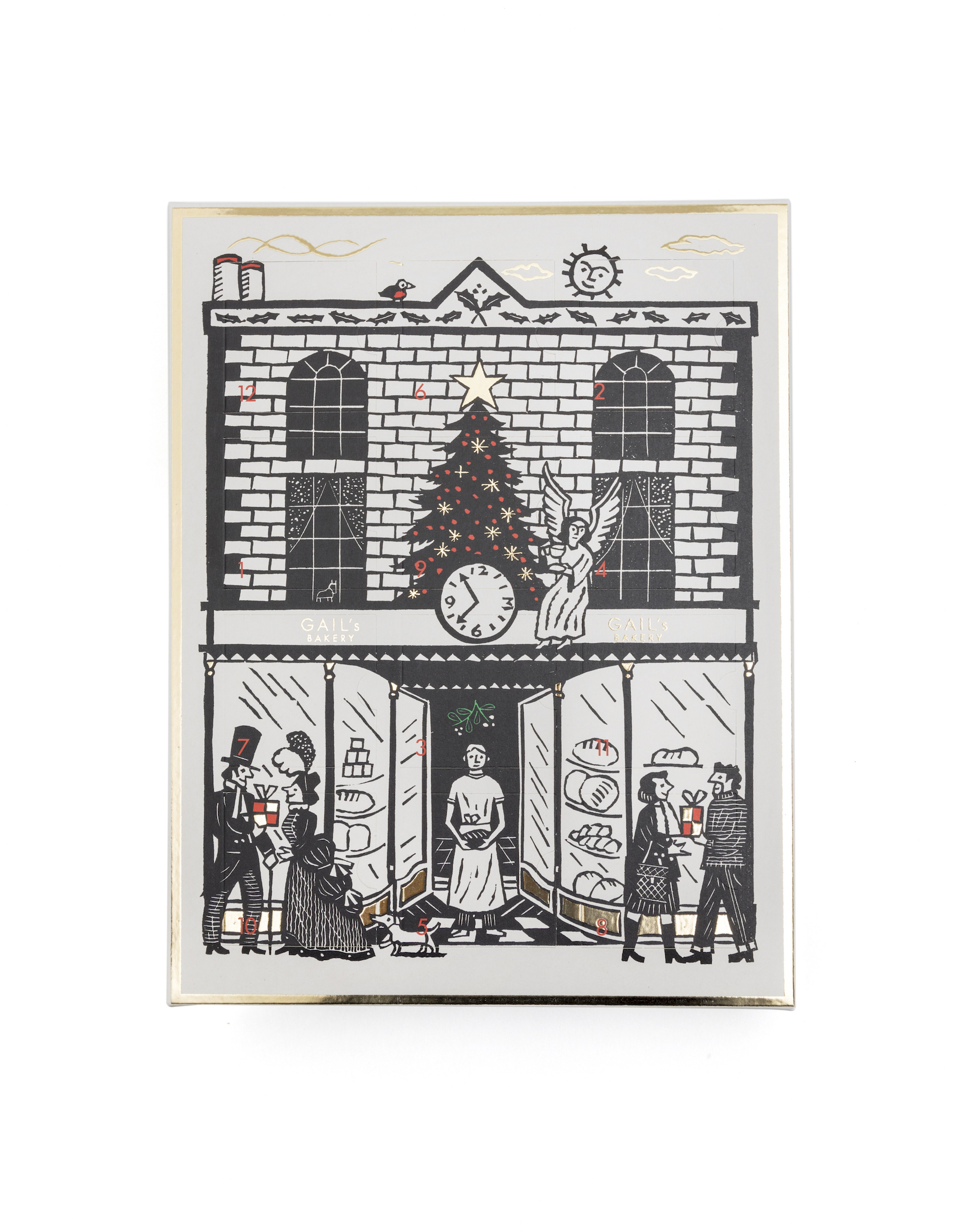 The front of the GAIL's advent calendar. There is a black and white drawing on the front of a GAIL's bakery, with a baker outside. Each door has a red number on it and the calendar has a gold rim