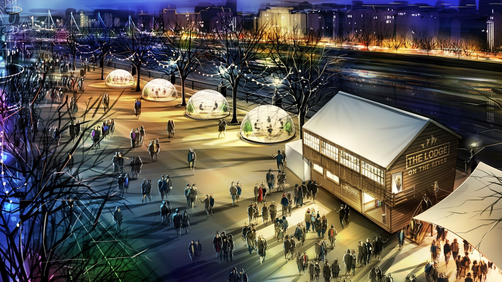 Impression of Jimmy's Lodge on the Southbank. There are 4 pods that are on the river, with fairy lights hanging above them. There is a wooden hut in the corner which people are gathering around