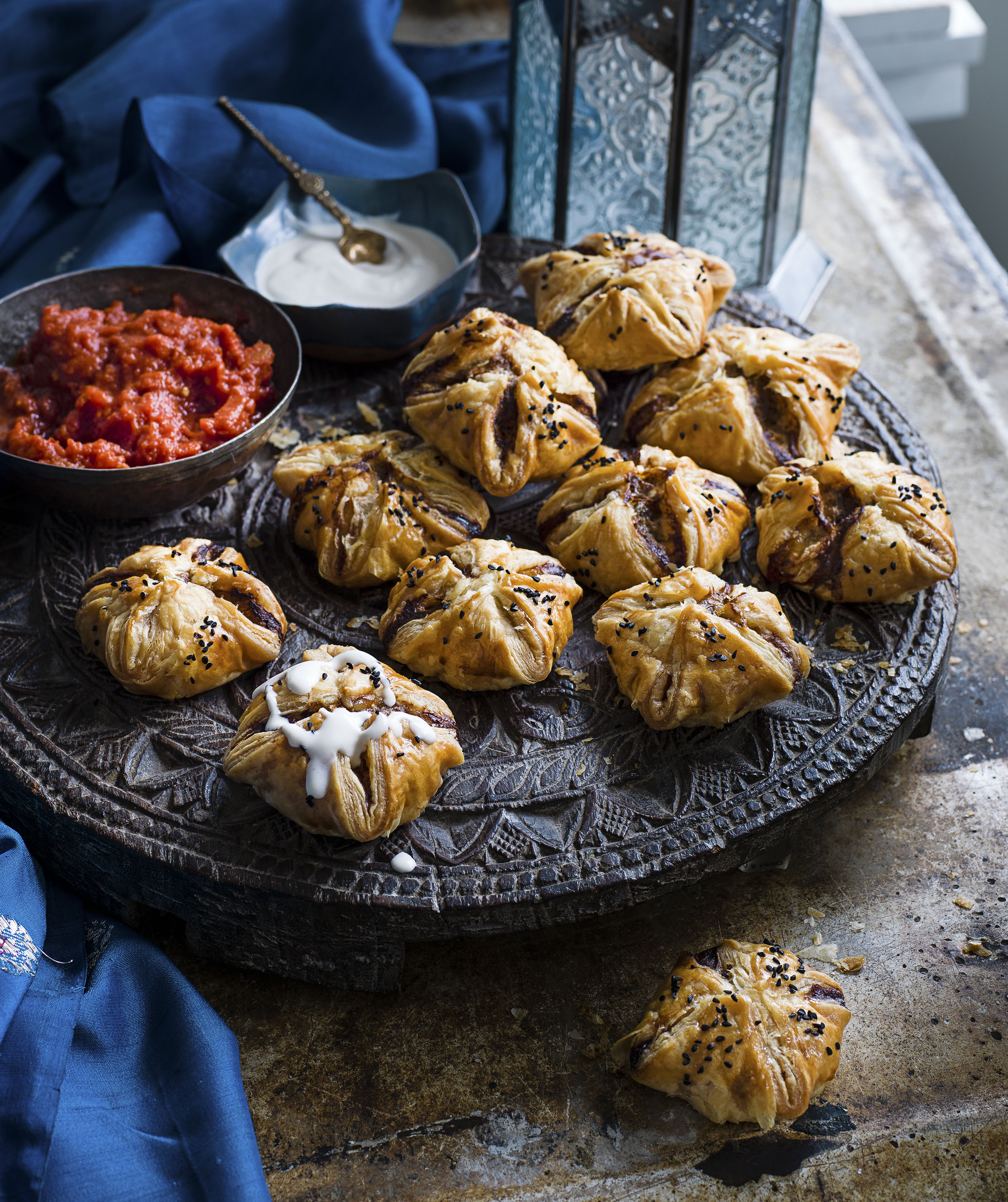 Lamb kofta puffs with tahini and tomato sauce recipe