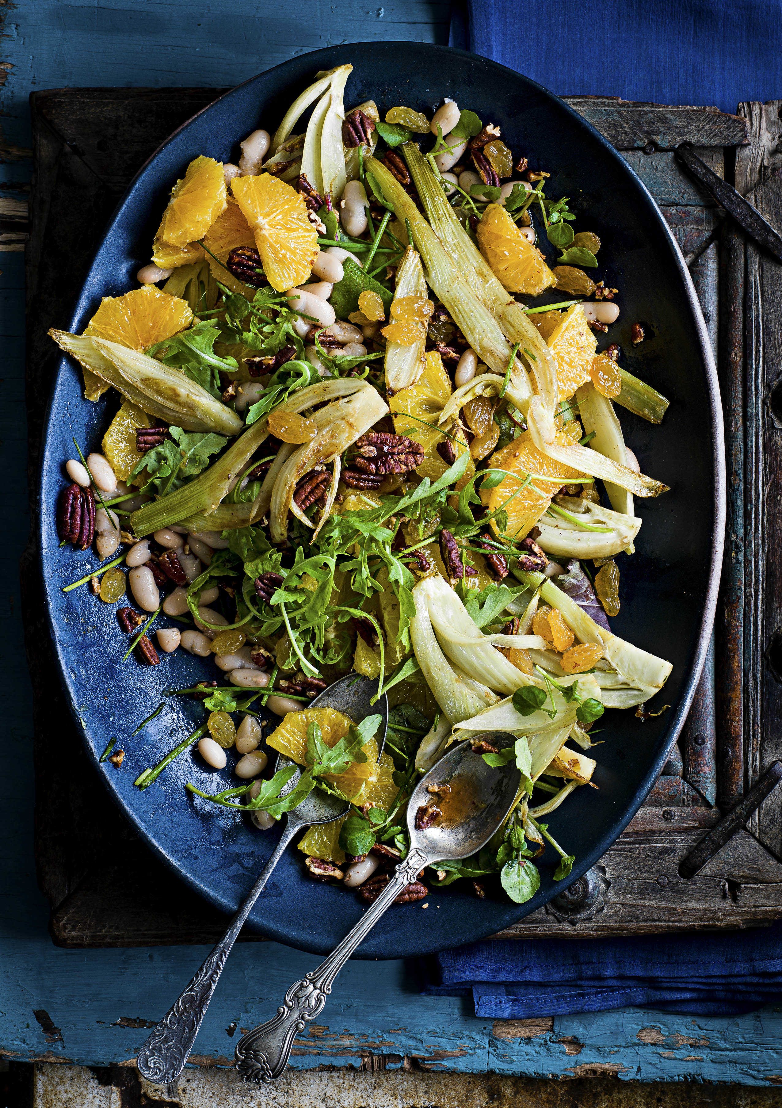 Orange, pecan and cannellini salad with sautéed fennel and golden raisons